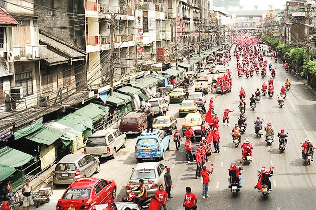 Red Shirt Protesters - Rachaprarop Road, Bangkok