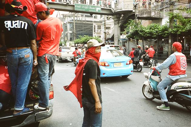Leaving the Rachaprasong Area - Bangkok Red Shirt Protesters