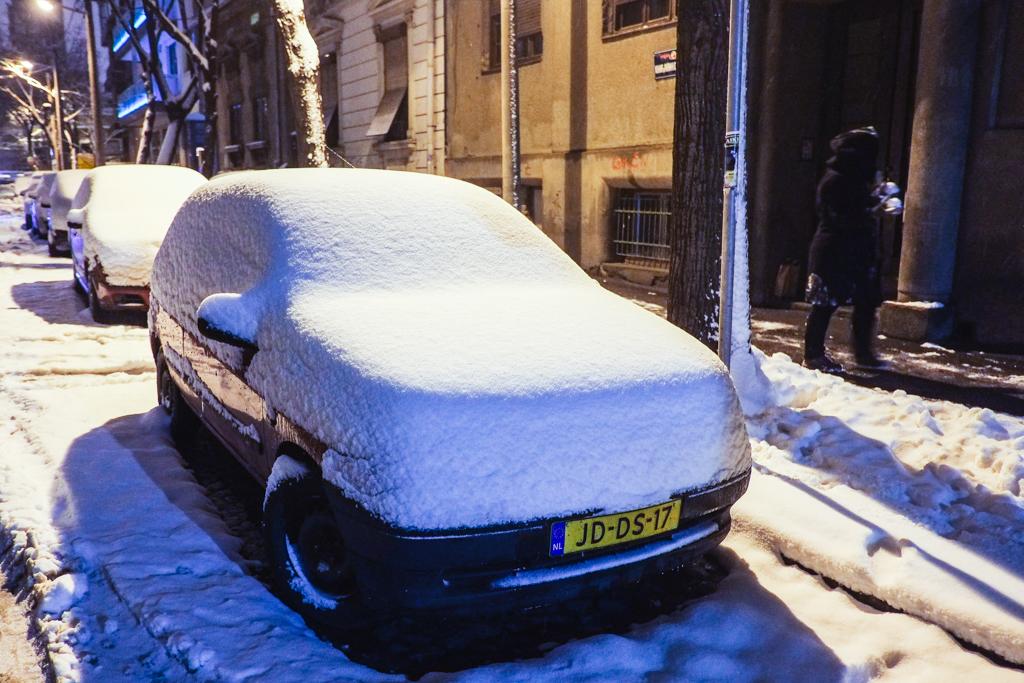serbia snow car