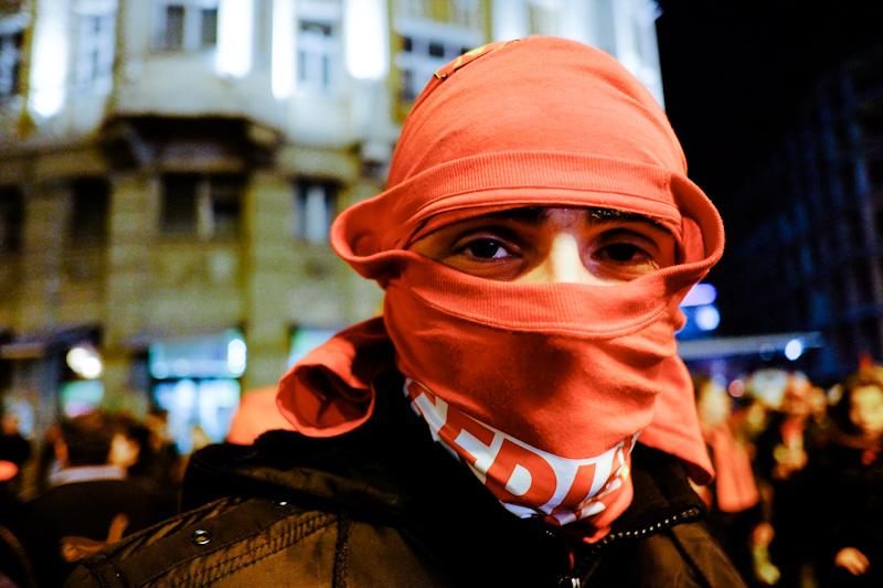 Political rally in downtown Skopje, Macedonia.