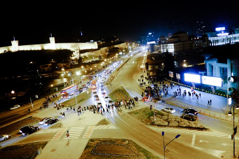 political rally in Skopje, Macedonia.