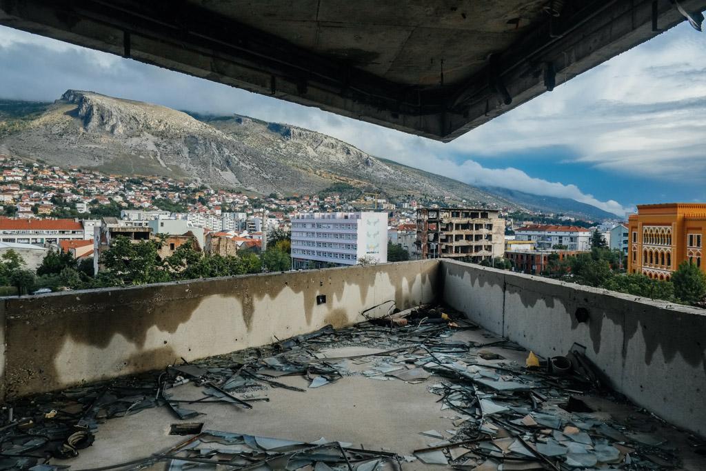 Former bank tower, former sniper stronghold. Mostar, Bosnia.