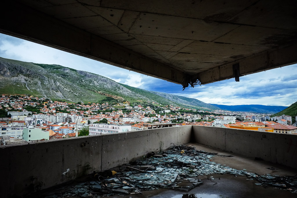 sniper tower mostar abandoned bank