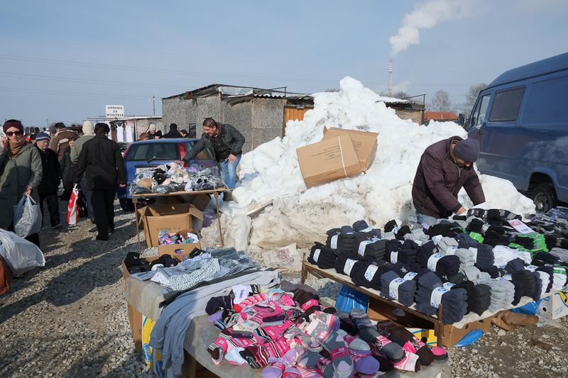 snow flear market zagreb - piles of snow