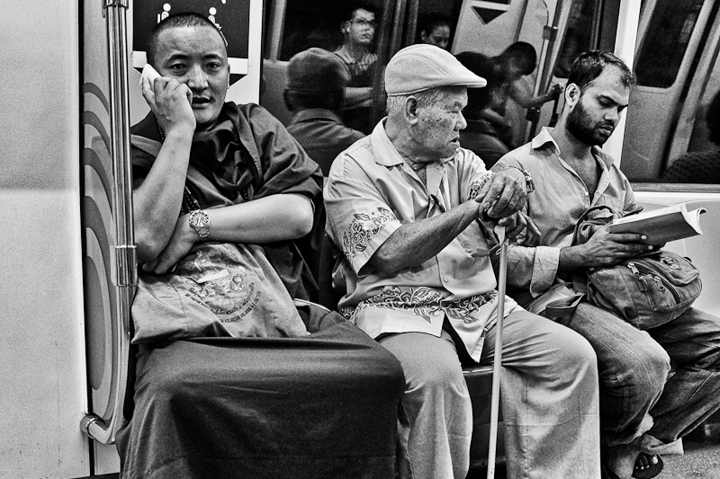 street photography in singapore - on the subway