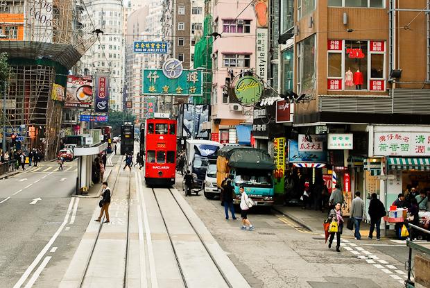 Hong Kong tram, street scene