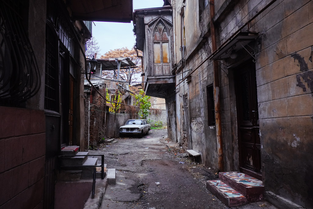 Typical street scene in Old Tbilisi, Georgia.