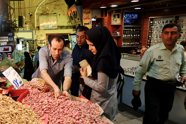 Tehran Grand Bazaar - security looks on