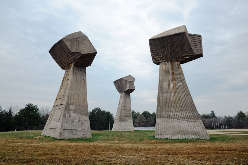 Yugoslavian monuments - communist architecture three fists nis