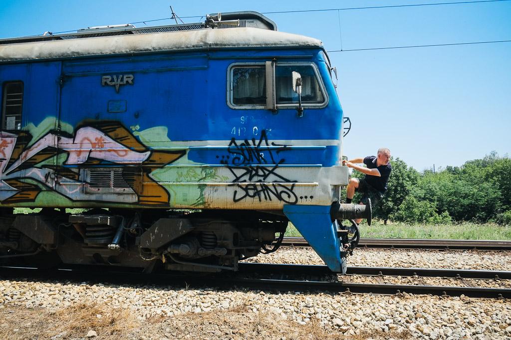 On the train from Belgrade to Novi Sad, Serbia.