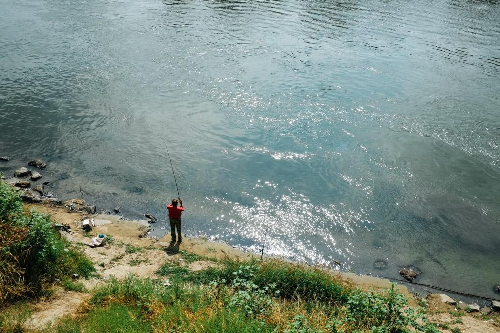 Fishing, downtown Tiraspol, Transnistria.
