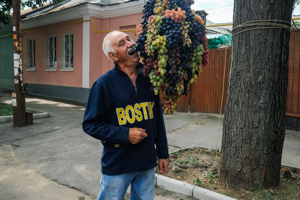 Grapes hang in the streets of Tiraspol, Transnistria.