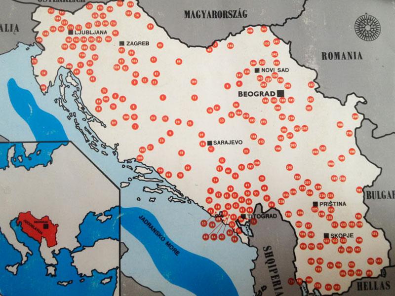 yugoslavian monuments map